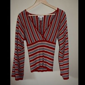 Max Studio Red White and Blue Cotton Top